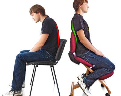 Сравнение осанки при использовании обычного и ортопедического стула