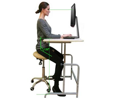 Положение человека на стуле седле