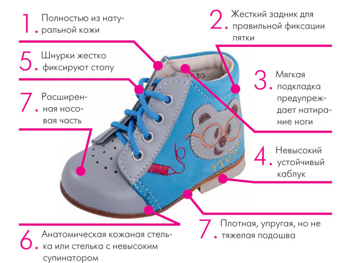Строение профилактической обуви для детей