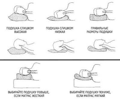 Рекомендации по выбору подушки